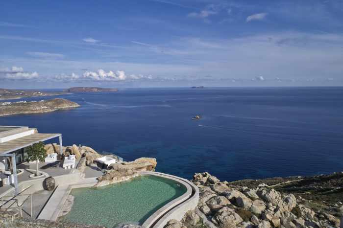 Daytime aerial view from Panoptis Escape villas on Mykonos