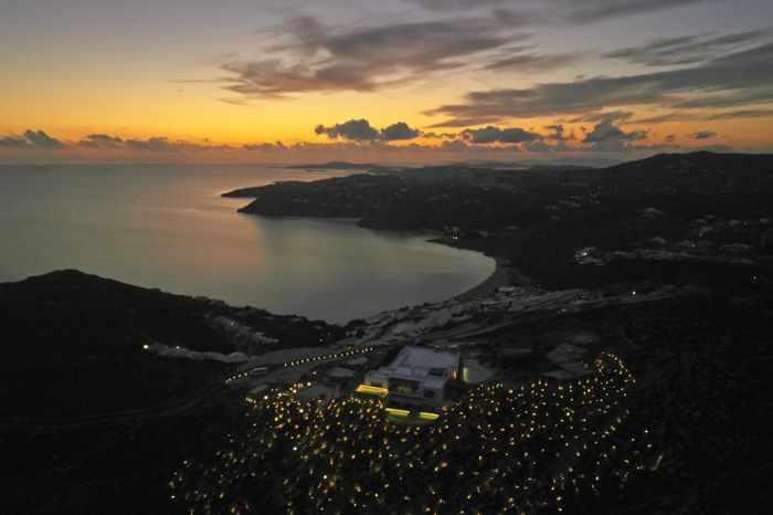 Sunset view of Panoptis Escape villas on Mykonos
