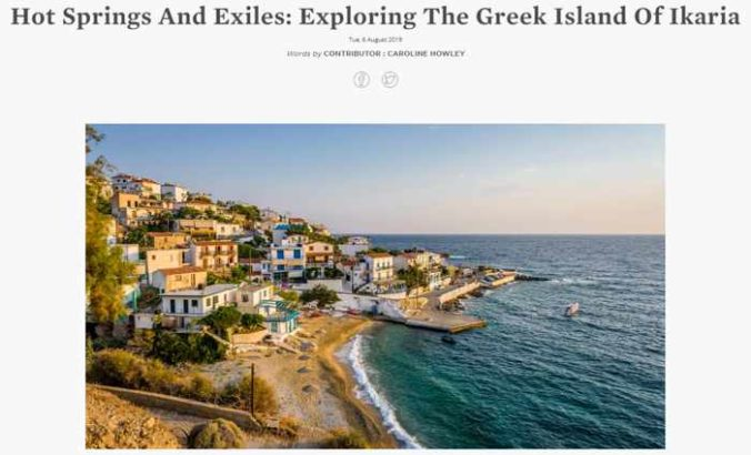 Screenshot of Suitcase Magazine story on Ikaria island