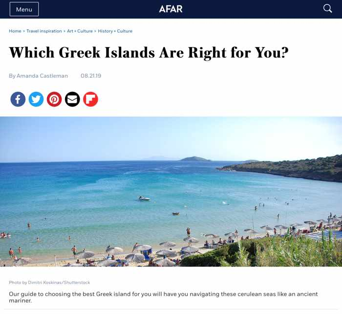 Screenshot of Afar magazine guide to the Greek Islands