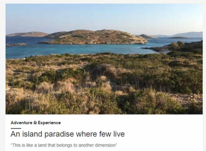 Screenshot of BBC Travel article about Arkoi island