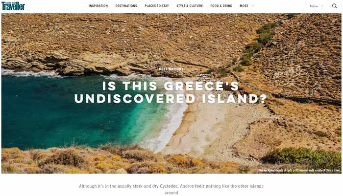 Screenshot of Conde Nast Traveller September 2019 article about Andros island