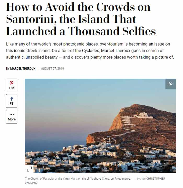 Screenshot of Cyclades islands travel article by Marcel Theroux for Travel + Leisure magazine
