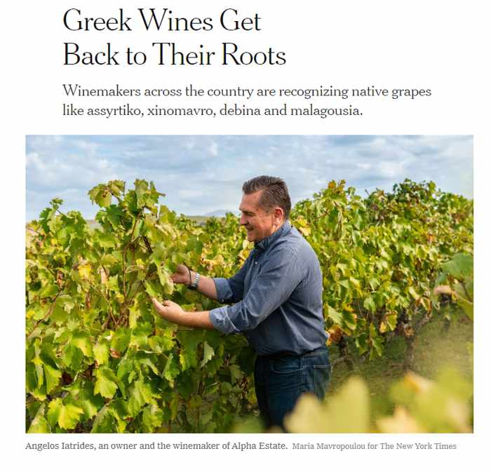 Screenshot of December 24 2019 New York Times article about Greek wines
