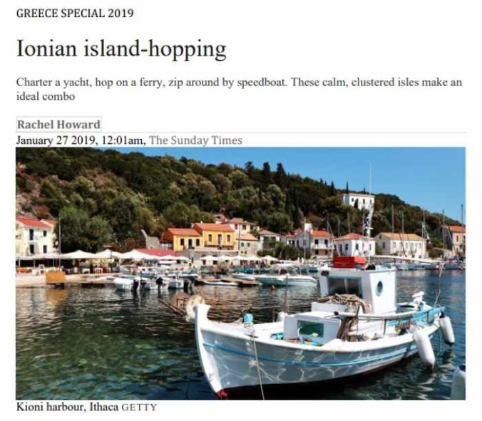Screenshot of Ionian island-hopping article by Rachel Howard for The Sunday Times
