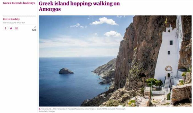Screenshot of Kevin Rushby article about Amorgos for The Guardian