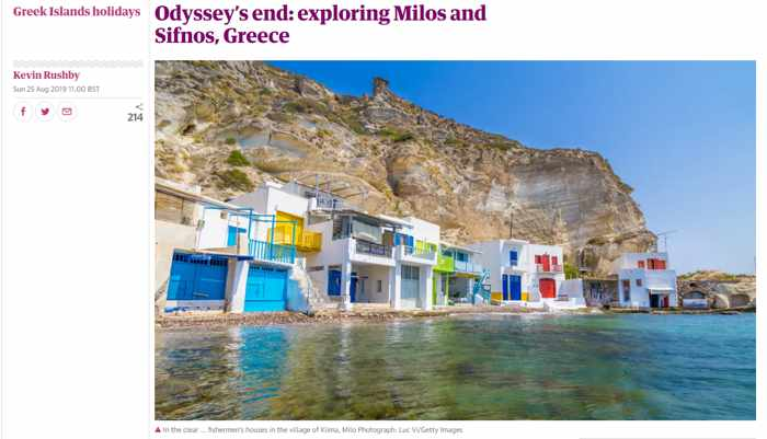 Screenshot of Kevin Rushby article about Milos and Sifnos for The Guardian