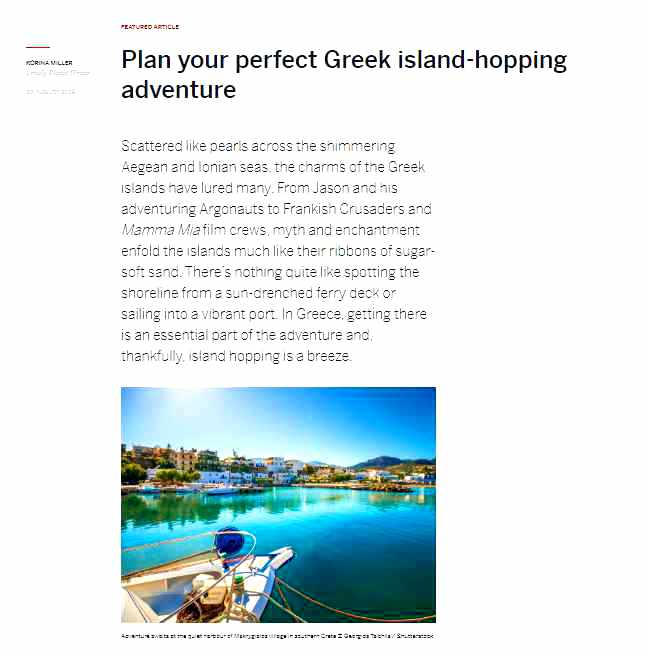 Screenshot of Lonely Planet magazine article about Greek Island hopping