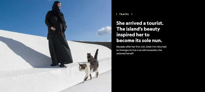 Screenshot of National Geographic article about Sister Irini on Amorgos