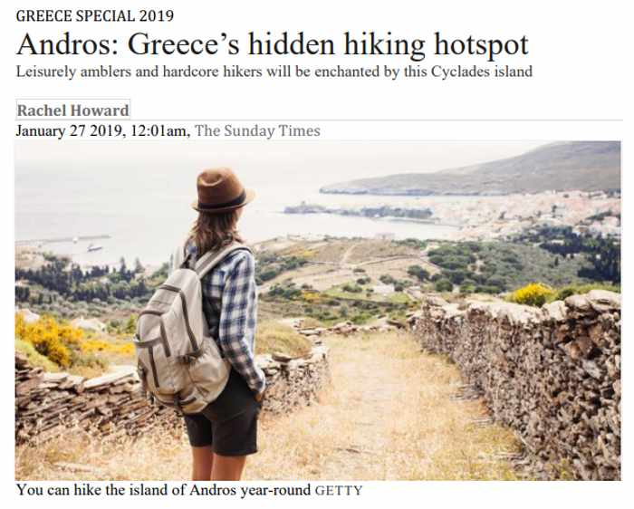 Screenshot of Rachel Howard Sunday Times article about hiking on Andros island