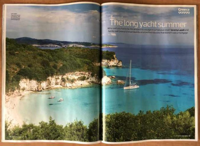 Screenshot of The Sunday Times Travel Magazine July 2019 article The long yacht summer