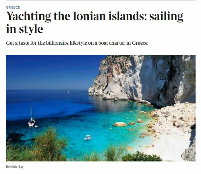 Screenshot of The Sunday Times article by Jeremy Lazell on sailing in the Ionian islands