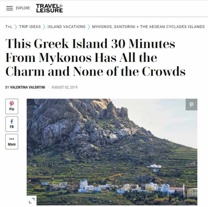 Screenshot of Travel + Leisure magazine article about Tinos island