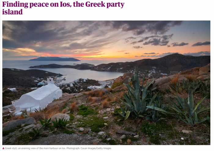 Screenshot of an article about Ios island published by The Guardian