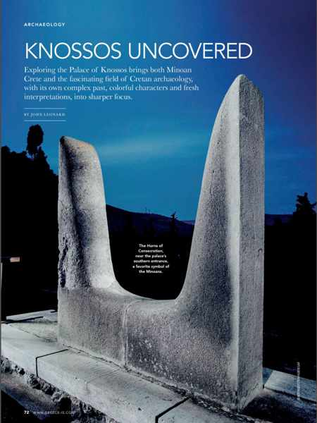 Screenshot of an article about Knossos from the 2019 Greece Is special Crete issue
