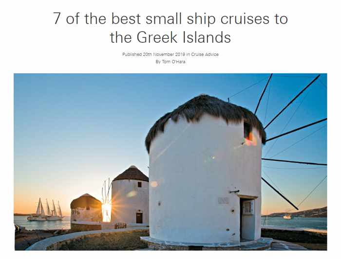 Screenshot of the Mundy Cruising article about small ship cruises to the Greek Islands