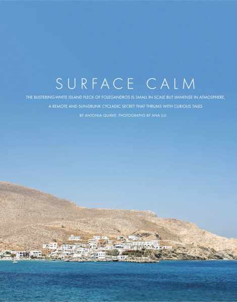 Screenshot of the opening page for Surface Calm article about Folegandros island in Conde Nast Traveller magazine