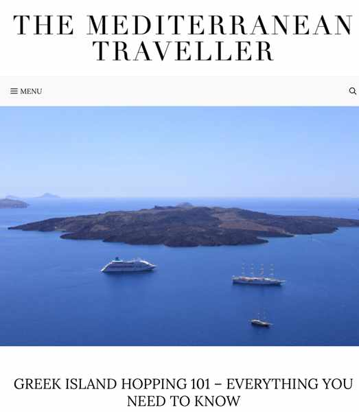Screenshot of The Mediterranean Traveller guide to Greek island hopping