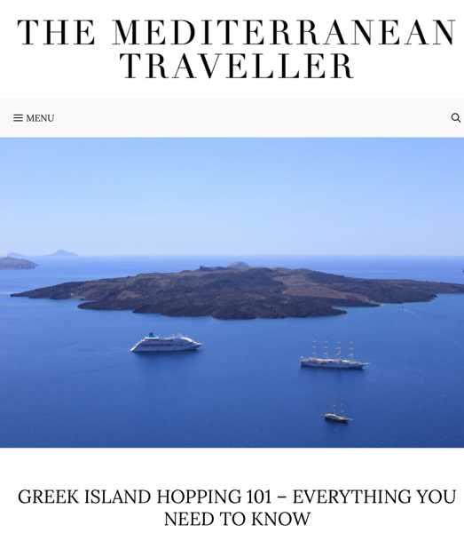 Screenshot of The Mediterranean Traveller guide to Greek island hopping