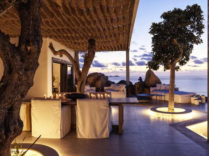 Open air dining room at Panoptis Escape villas on Mykonos