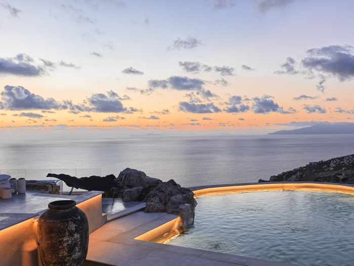 Sunset view from the Panoptis Escape villas on Mykonos