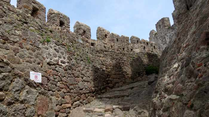 Passageway from the outer wall to the interior of the Castle of Molyvos on Lesvos island
