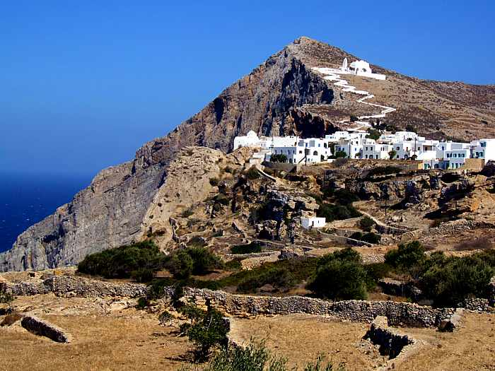 view toward Ano Meria and the Panagia Church on Folegandros island