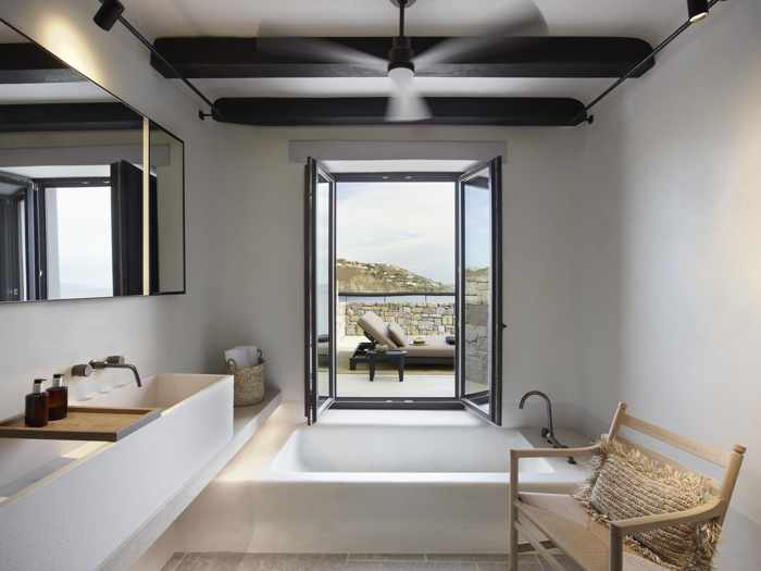 Kalesma Mykonos hotel suite bathroom interior