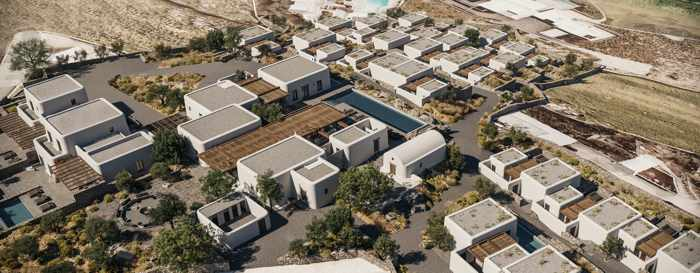 Aerial view of the Kalesma Mykonos hotel property