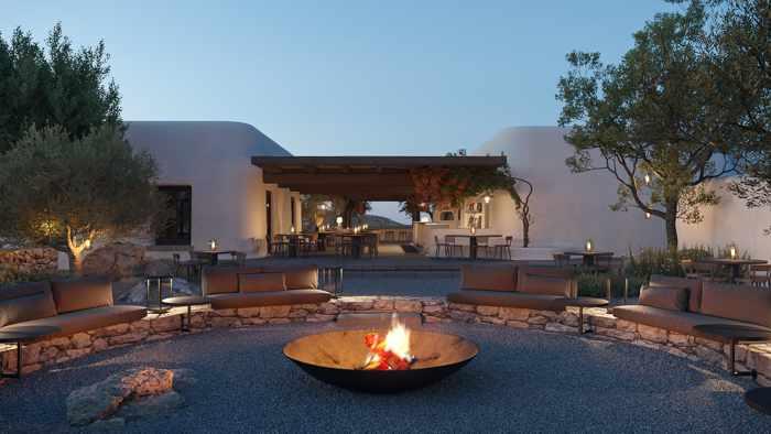 Kalesma Mykonos hotel sunset lounge fireplace