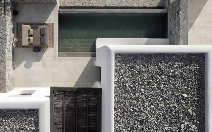 Aerial image of a private terrace and pool at Kalesma Mykonos Hotel
