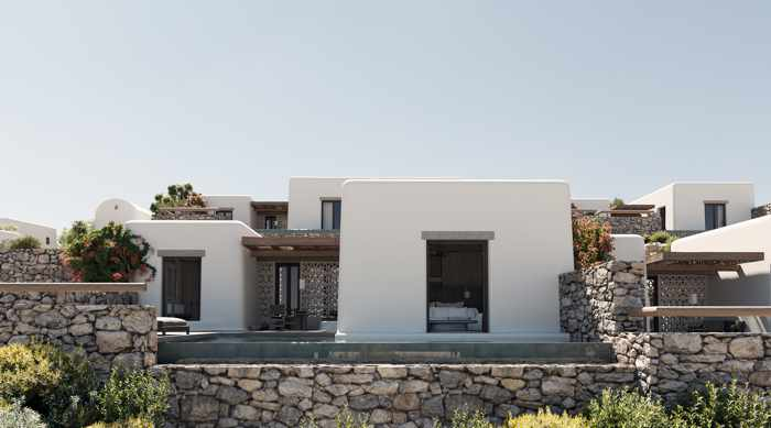 Exterior view of a hotel suite at Kalesma Mykonos