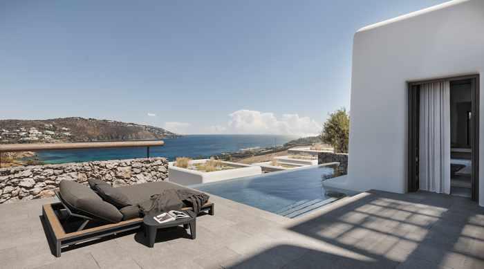 Kalesma Mykonos hotel suite terrace view of Ornos Bay