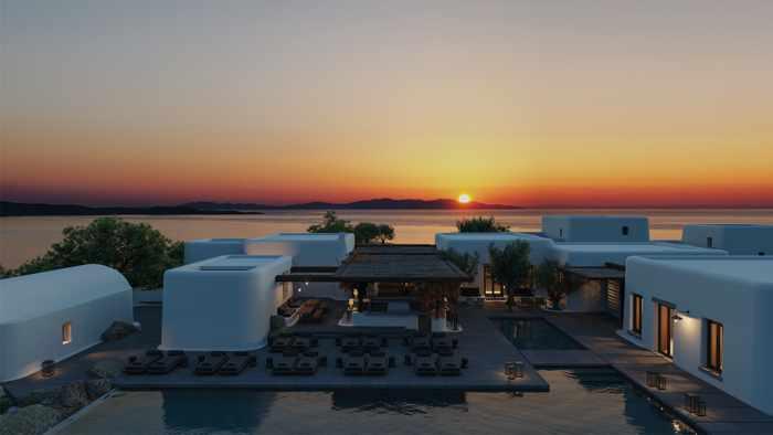 Kalesma Mykonos hotel & villa complex sunset view