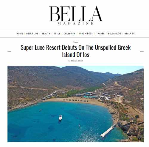 Screenshot of Bella Magazine article about Calilo beach resort on Ios island