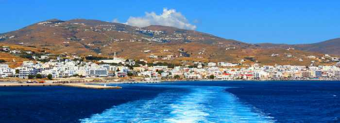 Tinos island as seen from a departing ferry