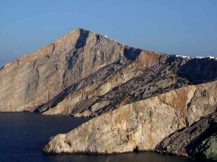 cliffs below Chora village on Folegandros island