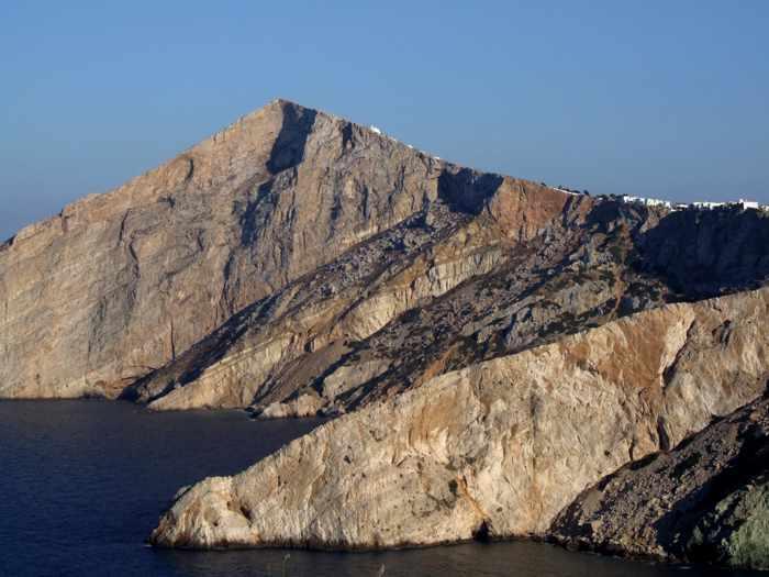 cliffs below Chora village on Folegandros island