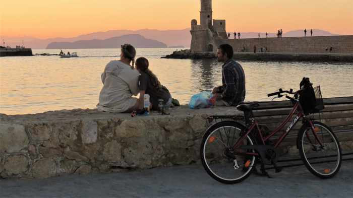 Chania harbourfront at sunset