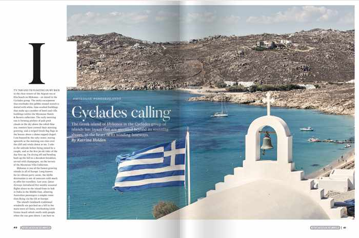 Cyclades Calling article from Vacations & Travel Magazine Summer 2019-2020 edition