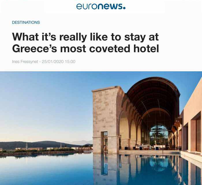 Euronews article about Greece's most coveted hotel