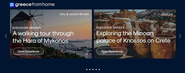 Screenshot 01 of discovery tours on the greecefromhome website