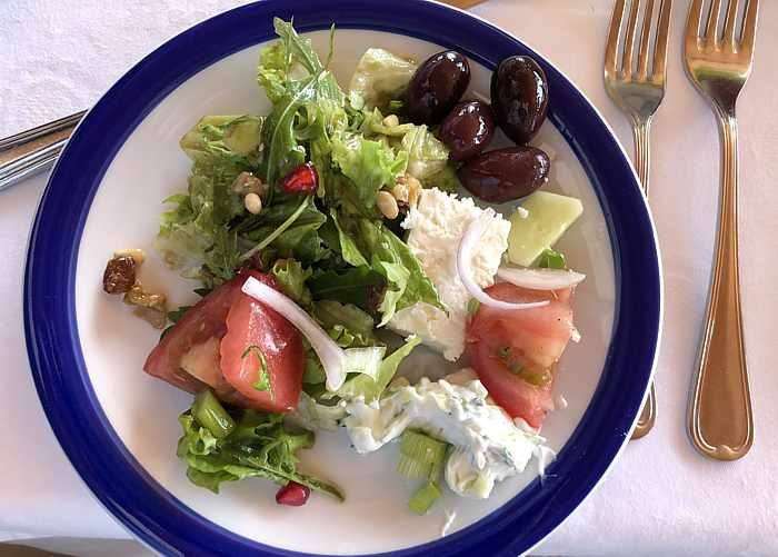 Greek salad at Delfinia Hotel on Lesvos
