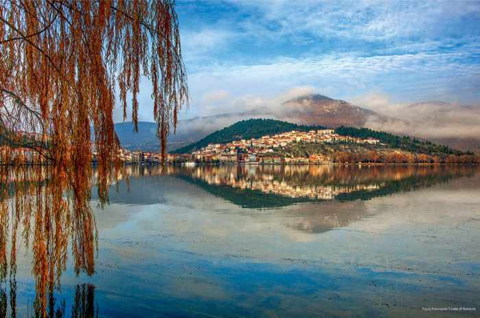 Kastoria city and lake photo from Issue 6 of Sky Express airlines Fly magazine