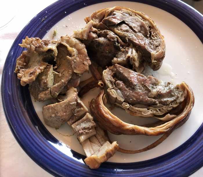 Greek Easter kokoretsi dish at Delfinia Hotel on Lesvos