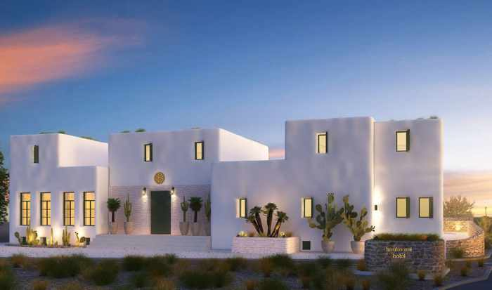 A rendering showing an exterior view of Koukoumi Hotel on Mykonos