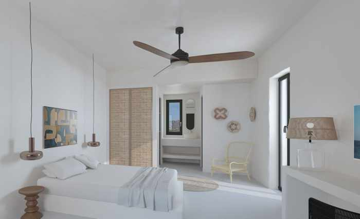 A rendering of a suite at Koukoumi Hotel Mykonos