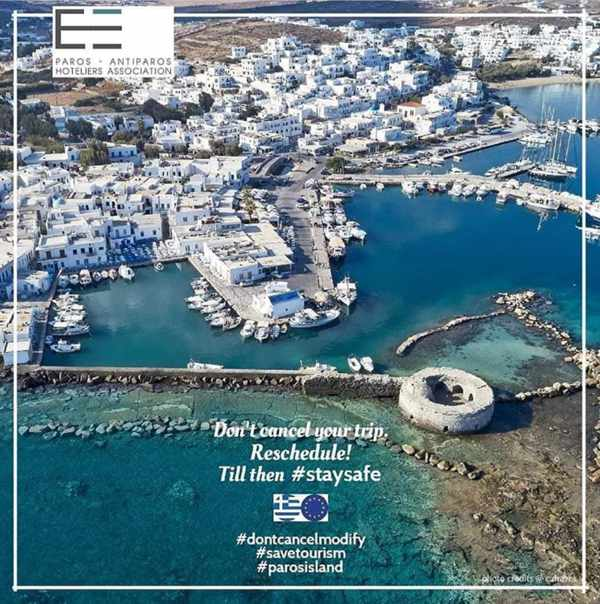 Aerial view of the Venetian fortress and the port at Naoussa village on Paros