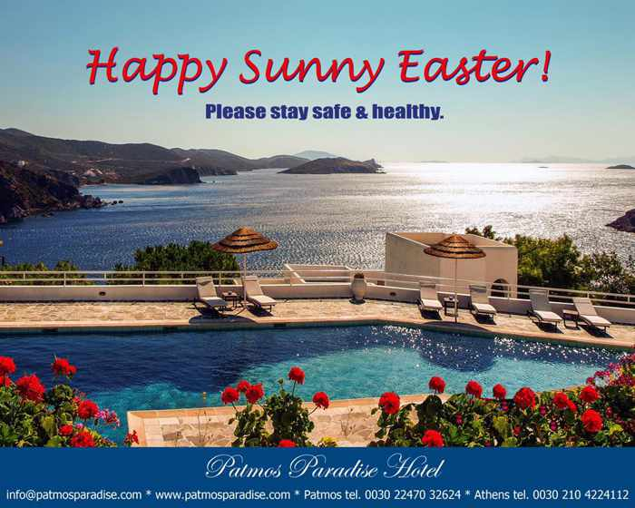 Patmos Paradise Hotel Easter greeting and stay safe message