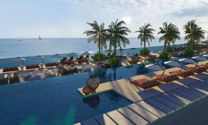 Rendering of the main swimming pool at Royal Senses resort on Crete